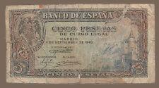 "5 PESETAS DE 1940. BILLETE DE LA ESPAÑA DE POSTGUERRA. ""ALCÁZAR DE SEGOVIA""."