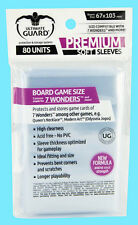 80 ULTIMATE GUARD PREMIUM 7 WONDERS BOARD GAME Card SLEEVE 67x103mm Clear Soft