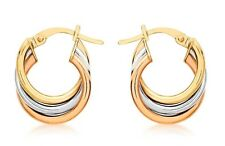 New 9ct Gold 3 Colour Russian - Multicolour Creole Earrings