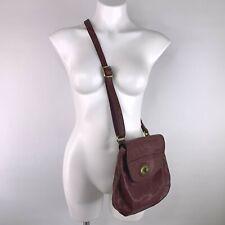 Fossil Crossbody Bag Purple Eggplant Genuine Leather Flap w/ Zippered Pocket