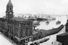 Vtg 1920's B&W  Photo - Ferry Building & Shipping Auckland N.Z. New Zealand #828