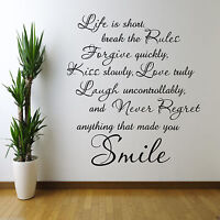 LIFE IS SHORT LOVE Wall Art Sticker Lounge Quote Decal Mural Stickers WSD421