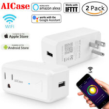 2x Smart WiFi Outlet Plug USB Charger Switch Work w/Amazon Alexa Google Home APP