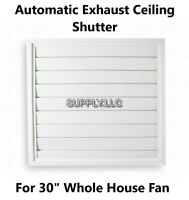 """Automatic Ceiling Shutter for Whole House Fan Gravity Exhaust 32"""" x 32"""" White"""