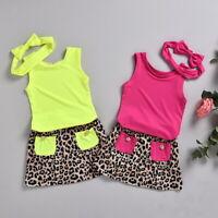 ❤️ Toddler Kids Baby Girls Summer Clothes Tops Leopard Skirt Dress Outfits Set