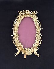 FABULOUS ANTIQUE PICTURE FRAME WITH BEAUTIFUL CHERUBS & BOWS