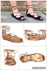 7ade4f930c16 Sam Edelman Barbara Ballet Lace Up Open Toe Flats Sandals Tan Camel Suede  Sz 8.5