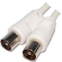 2m RF Fly Blei Coax Tv Antenne Freeview Stecker zu Weiß Hauptkabel [007155]