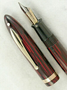 "VINTAGE BIG SHEAFFER RED STRIPED LIFETIME BALANCE ""1000"" DELUXE FOUNTAIN PEN"