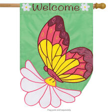 """Daisy Butterfly Welcome House Flag Spring Floral Embroidered Sculpted 29"""" x 42"""""""