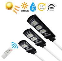 30/60/90W Solar LED Street Light Remote Dusk to Dawn PIR Motion Sensor Wall Lamp