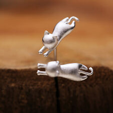 Super cute silver tone frosted jumping cat stud earrings