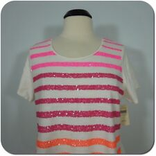 COLDWATER CREEK Striped In Sequins Tee, Ivory/Pink size L (NEW)