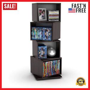 Media Storage Tower Organizer Shelf Home Furniture CD DVD Rack Rotating Shelves