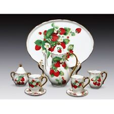 Miniature Porcelain 10 Piece Tea Set with Strawberry Pattern New