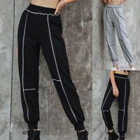 Women Lady High Waist Casual Streetwear Sweatpants Stripe Pants Jogger Trousers