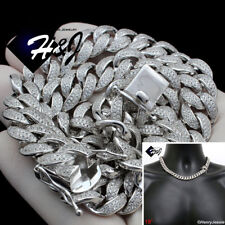 """18""""MEN 925 STERLING SILVER 12MM ICY DIAMOND MIAMI CUBAN CURB CHAIN NECKLACE*SN12"""