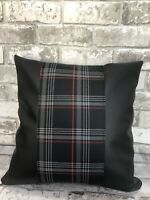 "17"" CAMPERVAN CUSHION T5 T6 T4 VW CADDY TARTAN STRIP FAUX LEATHER NEW RED"