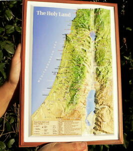 """Holy Land Christian 3-D Topographic Wall MAP 14"""" Jesus Christ Bible Sites Israel"""