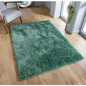 Serene Sage Green Thick Luxurious Non-Shedding Pile Shaggy Rug in various sizes