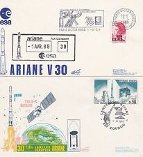 1989 - Launch ARIANE V30 - 2  space covers from Paris/Kourou