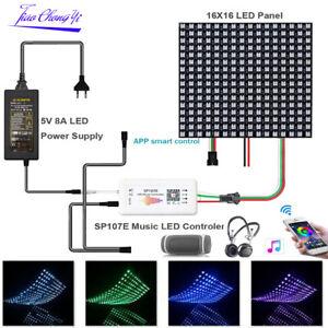 WS2812B Addressable 8x8 8X32 LED Screen Panel SP107E Music Controller DC5V Kit