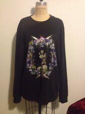 GIVENCHY Black Sweatshirt Naked Lady Sitting Flowers RUNWAY Sz M