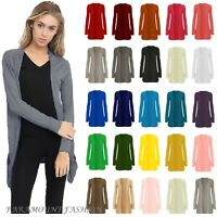 WOMENS LADIES LONG SLEEVE BOYFRIEND CARDIGAN TOP OPEN POCKET CARDIGAN SIZE 8-26