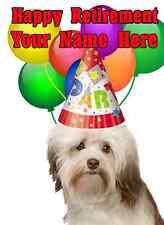 Havanese Dog Happy Retirement Party Hat Card codeha Personalised Greetings