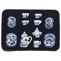 1/12th Dining Ware China Ceramic Tea Set Dolls House Miniatures Blue Flower B4D8