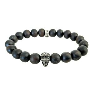 "NOV9M 0.47ct Champagne Diamonds Skull in Kamagong Wood Beads Stretch Bracelet 8"""