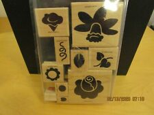 "StampinUp! ""Definitely Decorative Fun Flowers"" Wood Mounted Stamps, 1998, 10 pcs"