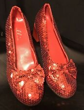 Wizard of Oz Dorothy Sequin Red Ruby Shoes Ladies Adult Sz 6 M Costume