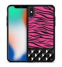 Magnificent Lush Pink Zebra Camo Black Geometric Cubes Pattern Phone Case Cover