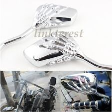CHROME SKULL HAND REARVIEW MIRRORS FOR YAMAHA VICTORY HYOSUNG KYMCO SCOOTER BIKE