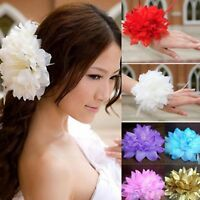 NEW Beautiful Glitter & Feather Flower Hair Clip/Corsage, 16 Colours, UK Seller