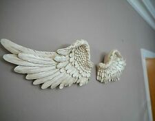 LARGE Pair of Angel Wings Ornate Vintage Wall Art Hanging Decoration White Cream