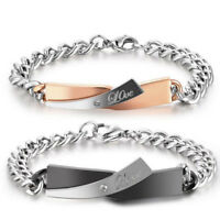 Fashion Men Women Couple Lovers Bracelet Stainless Steel Bangle Bracelet Gift