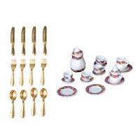1:12 27pcs Poupées Maison Ensemble de thé en céramique miniature en