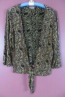 STK3674- CHOICES Women's Slinky Travel Knit Open Front Jacket w/ Tie Animal M