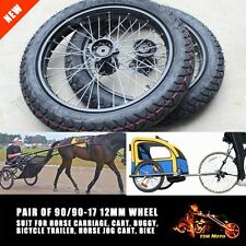 "12mm Axle 90/90-17"" Wheel Horse Trainer Carriage Jog Cart  Buggy Bicycle Trailer"