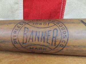 "Vintage 1930s Banner Wood Baseball Bat Peerless Sporting Goods RR Model 33"" Nice"