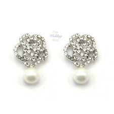 Bridal Wedding Prom Pearl & Crystal Rose Flower Silver Stud Earrings E07