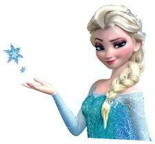 "7X6"" Frozen Elsa glitter large IRON On TRANSFER Heat Vinyl braids blue dress"