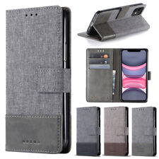 For OPPO A72 A53 A92 A83 Reno 4 Pro F7 Canvas Leather Splicing Wallet Phone Case