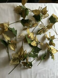 12 x GOLD HOLLY STEMS Berries Artificial Christmas Wreath Garland Decorations