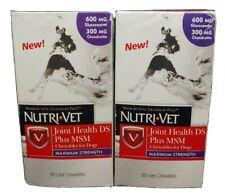 2Pk Nutri-Vet Dog Pet Hip Joint Health Care MSM Plus Liver Chewables 120C Ex9/20