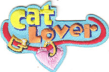 """CAT LOVER"" PATCH - CATS - PETS - KITTENS -LOVE / Iron On Embroidered Applique"