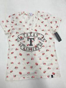 MLB Team Apparel Texas Rangers Cream Floral Banner Size M 10/12 Girls Sample New