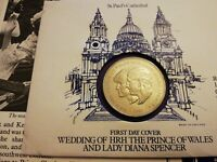 "1981 United Kingdom ""Charles  & Diana Wedding"" COIN & (First day Cover)"